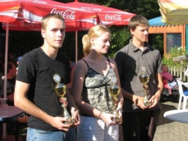 Zufriedene Gewinner und Veranstalter der Minigolf-Stadtmeisterschaft 2007 auf den Almterrassen